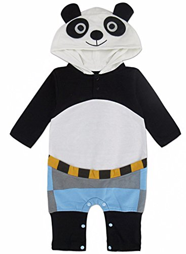 A&J Design Baby Boys' Animal Panda Costume Romper with Hood (0-6 Months) (Halloween Costumes Panda)