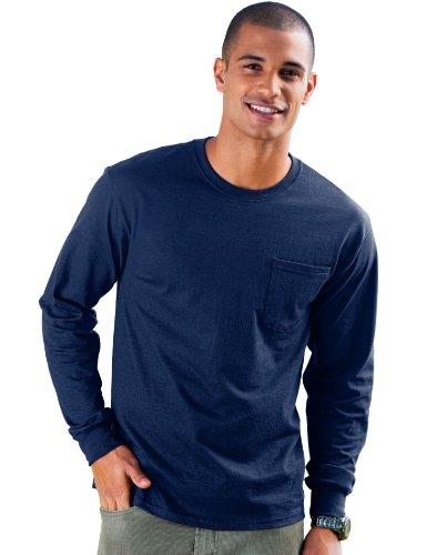 Hanes Men's Tagless Long Sleeve T-Shirt with a Pocket - XX-Large - - Fall Flourish