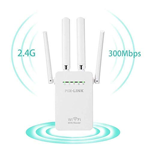 Wifi Repeater, KeepTpeeK Wifi Range Extender 300Mbps 2.4GHz Signal Internet Extender Amplifier Wifi Booster with Four Antennas (Enter Multiple Addresses Find Best Route)