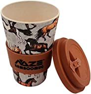 NAZE Eco-Friendly Bamboo Cup Natural Organic Bamboo Fiber Travel Mug, Reusable Coffee Cup, with Silicone Lid &
