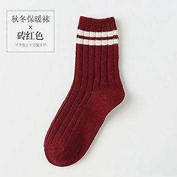 VIG calcetines 3 pares de calcetines de lana a rayas retro arte mujer otoño cálido y el invierno en el tubo calcetines de lana, rojo: Amazon.es: Deportes y ...