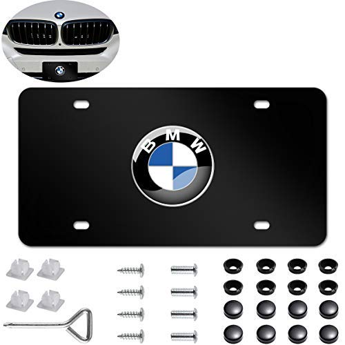 Bmw Plate - Carfun Heavy Duty 3D Stainless Steel License Plate Cover for BMW,Personalize Your BMW License Plate Frame (Black)