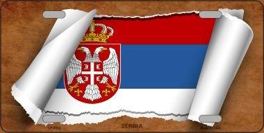 Scroll Eagle - Serbia/Eagle Flag Scroll Novelty Metal License Plate LP-9110