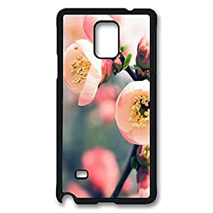 VUTTOO Rugged Samsung Galaxy Note 4 Case, Cherry Tree Branch Flowers PC Plastic Hard Case Cover for Samsung Galaxy Note 4 N9100 PC Black