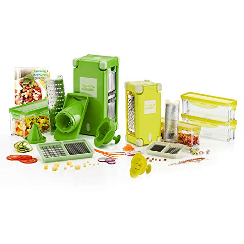 Genius Nicer Dicer Magic Cube | Deluxe-Set | 25Pieces | Slicing | Grating | Julienne | Spirals | Slicing | Dicing | Fruit & Vegetable | as seen on TV | New