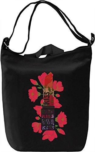 Flower Kiss Borsa Giornaliera Canvas Canvas Day Bag| 100% Premium Cotton Canvas| DTG Printing|