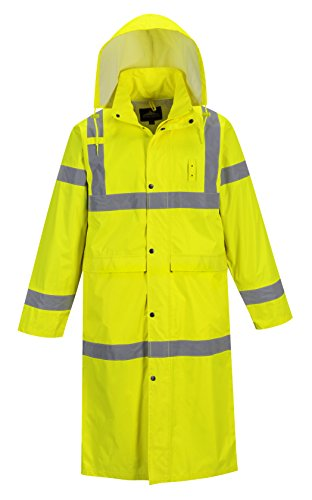 Portwest Hi-Vis Classic Rain Coat 48 in Length, Hi-Vis Waterproof Rain Jacket (L (42-44in), Yellow)