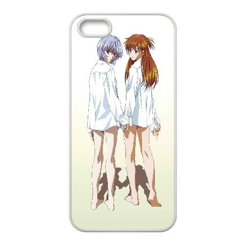 Ayanami Rei And Asuka Langley Soryu coque iPhone 4 4S Housse Blanc téléphone portable couverture de cas coque EBDOBCKCO11570