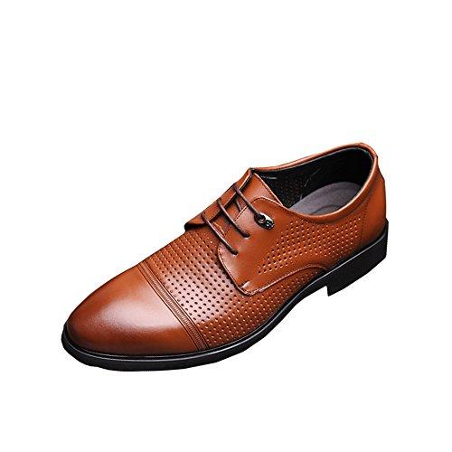 MERRYHE Hommes Lace-Up Gentleman Chaussures Mesh Derby Real Chaussures En Cuir à Bout Pointu Richelieus Lace Ups Pour Hommes D'affaires De Mariage Soirée De Travail Brown bLoptKsJ