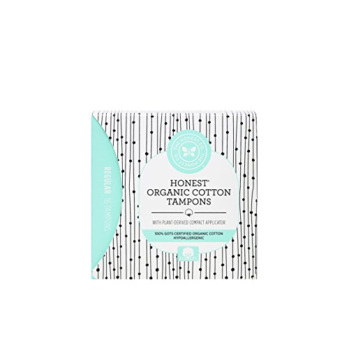 The Honest Company Organic Cotton Tampons with Plant-Based Compact Applicator | Regular | Hypoallergenic & Breathable Organic Tampons | GOTS Certified Organic Cotton |16 Count