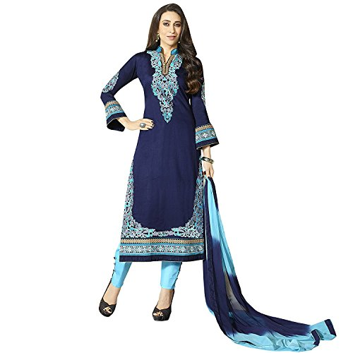 Laxminarayan Ready Made Blue Pure Cotton Embroidered Long Churidar Straight Cut Salwar Suit (Customize Stitched)