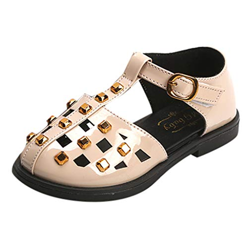 (Respctful✿Baby Leather Dress Sandals US Toddler Baby Girls Slip On Mary Jane Flats Rivets Princess Ballet Toddler Sandals Beige )