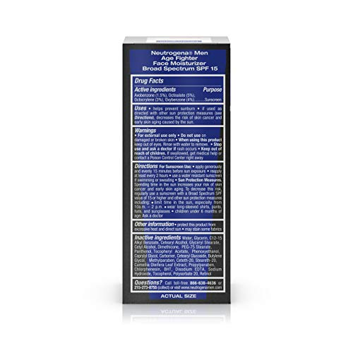 41b8AhsPfJL - Neutrogena Age Fighter Anti-Wrinkle Face Moisturizer for Men, Daily Oil-Free Face Lotion with Retinol, Multi-Vitamins, and Broad Spectrum SPF 15 Sunscreen, 1.4 oz