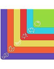 Extra dikke flexibele kunststof snijplank matten met voedsel pictogrammen & EZ-Grip wafelrug, (set van 6) vaatwasmachinebestendig