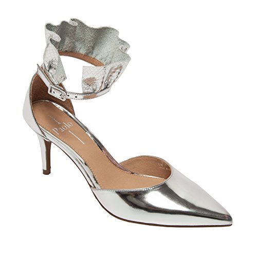 Linea Paolo pammy - Women's Ruffled Ankle Strap Mid Heel - Pointy Toe Pump Silver Leather/Print Metallic Leather vv0Nun2i