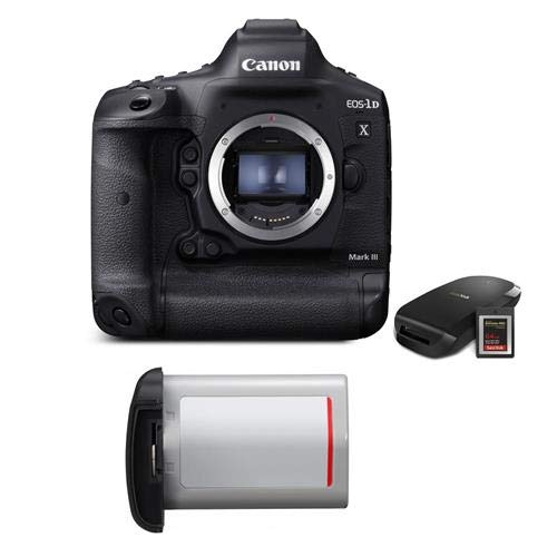 Canon EOS-1D X Mark III DSLR Camera Body with CFexpress Card & Reader Bundle Kit - with Essential Kit, LP-E19 Lithium-Ion Battery Pack
