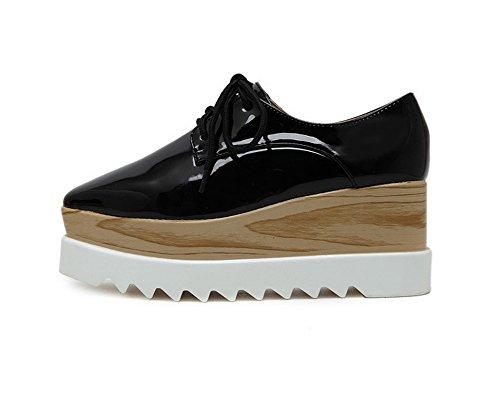 1TO9 Womens Bandage Platform Wedges Urethane Oxfords Shoes Black uuyYWfz