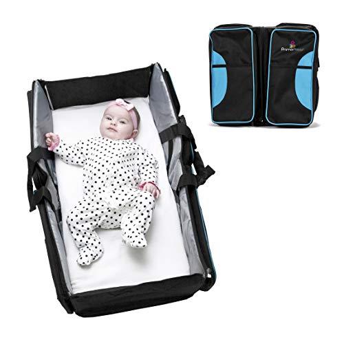 Primo Passi Nido 3 in 1 Premium Portable Diaper Bag Travel Bassinet and Change Station (Blue) (Folding Bassinet Travel)
