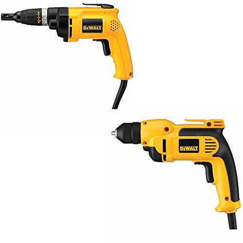 DeWalt DW257 Deck/Drywall Screwdriver w/DWD112 3/8 inch Pistol Grip Drill w/Chuck