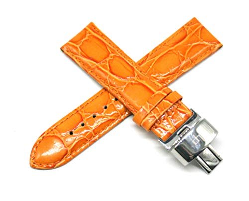(Lucien Piccard 22MM Orange Crocodile Grain Genuine Leather Watch Strap 7.5 Inches with Silver LP Initial Clasp )