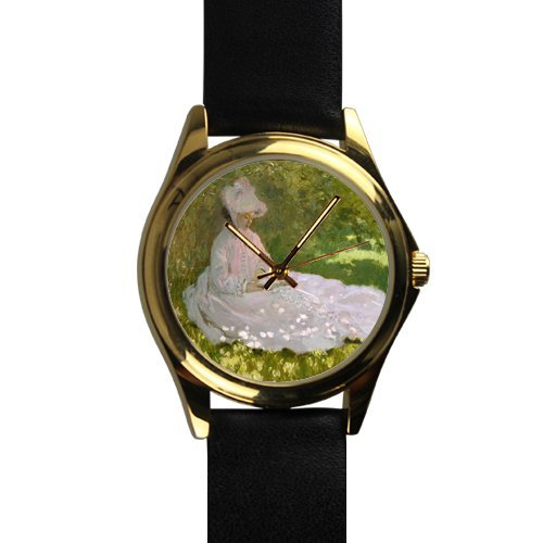 Unique Christmas Gift Woman Reading Art By Claude Monet Unisex -tone Round Leather Metal ()