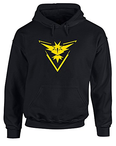 Team Instinct Pokemon Go Badge, Printed Hoodie - Black/Yellow XL