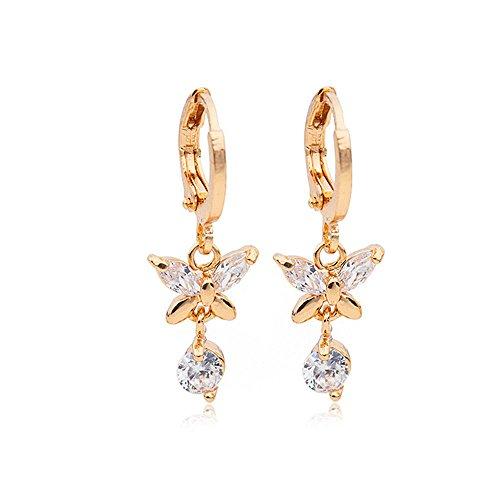- 18k Gold Plated Hoop Earrings Butterfly Dangles Drop Filled Zircon Crystal