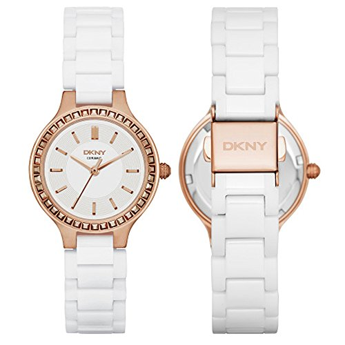 DKNY Chambers White Ceramic and Rose Gold-Tone Stainless Steel Women's watch #NY2251