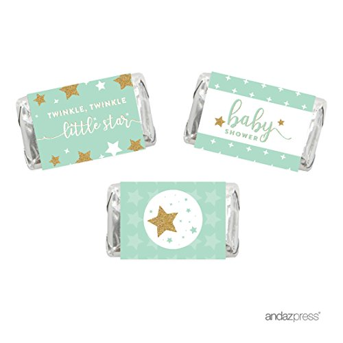 Andaz Press Twinkle Twinkle Little Star Mint Green Baby Shower Collection, Chocolate Minis Labels, Fits Hershey's Miniatures Party Favors, 36-pack