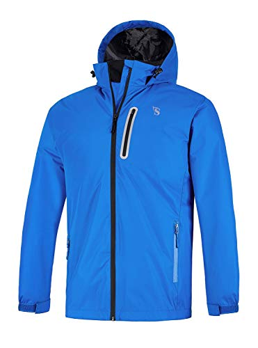 GEEK LIGHTING Rain Jacket for Men, Outdoor Zipper Waterproof Lightweight Raincoat Windbreaker with Hooded (Blue, Large)