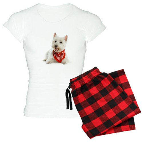 Plaid Ladies Highland Pant (CafePress - Westie With Red Bandana Women's Light Pajamas - Womens Novelty Cotton Pajama Set, Comfortable PJ Sleepwear)