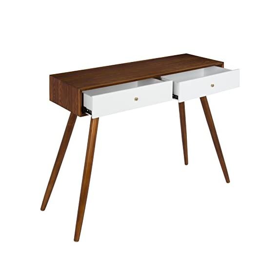 Kate and Laurel Finco 2 Drawer Console Table, Walnut Brown and White - MID-CENTURY STYLE: The sleek, clean lines of the wood top contrasts with the slender, angled legs giving the Finco Console Table a real retro mid-century style reminiscent of the 1960s PRETTY PERFECT: Large enough for everyday use but compact enough to fit in lots of spaces, this console table measures 30 inches tall x 36 inches wide x 12 inches deep FUN COLOR COMBINATION: A light walnut finish complements the bright white drawers that feature shiny brass hardware giving it a stylish vintage look - living-room-furniture, living-room, console-tables - 41b8CCg hjL. SS570  -