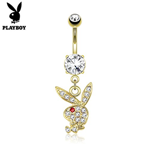 West Coast Jewelry {Clear/Red} Paved Gems on Playboy Bunny Dangle 14kt Gold Plated Navel Belly Button Ring (Sold Ind.) (West Coast Belly Rings)