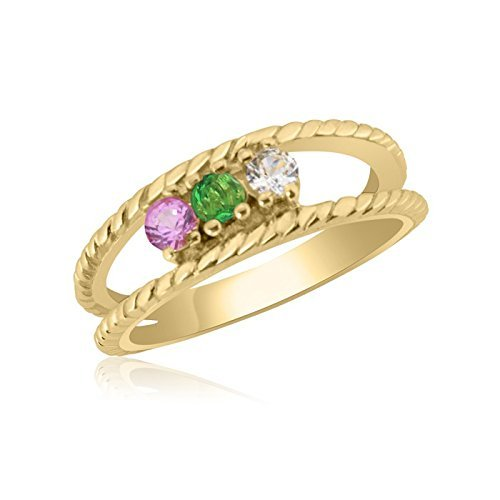 10K Yellow Gold Twisted Rope Ring – 3 Birthstone Family Ring by Ice Gold Jewellery Inc