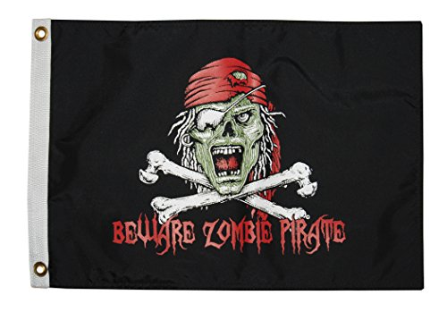 TAYLOR MADE PRODUCTS Taylor N A 1610 Pirate Zombie 12X18 Nylon Flag ()
