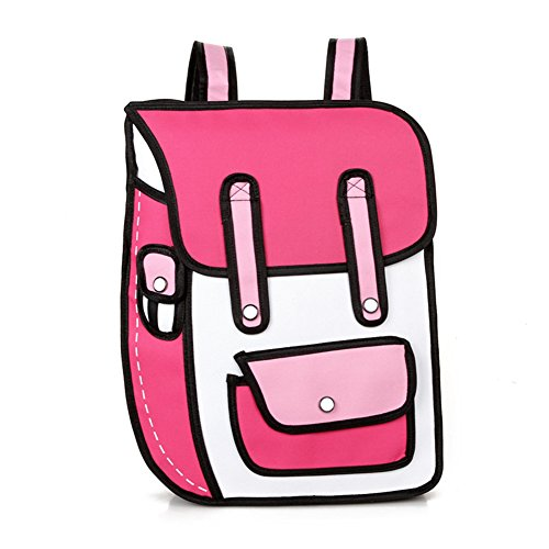 Nuobo 3D Drawing Paper Backpack School Bag Comic Vintage Backpack Laptop Bag for Teenagers