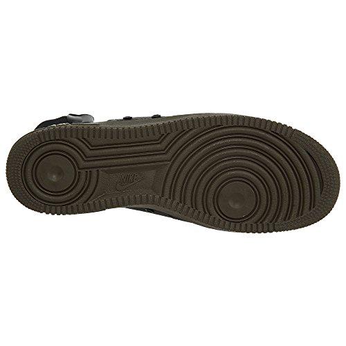 Nike Scarpe Uomo Wmns SF Air Force 1 Mid in Pelle e Tessuto Bianco 917753-101 Black, Black-dark Hazel