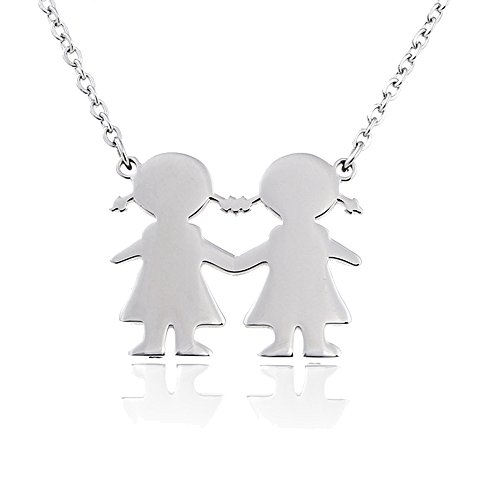 AOCHEE Son Daughter Two Kids Twins Family Pendant Friends Necklace 18