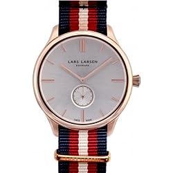 Lars Larsen 122RBNN Mens Simon Rose Gold Navy Nato Watch