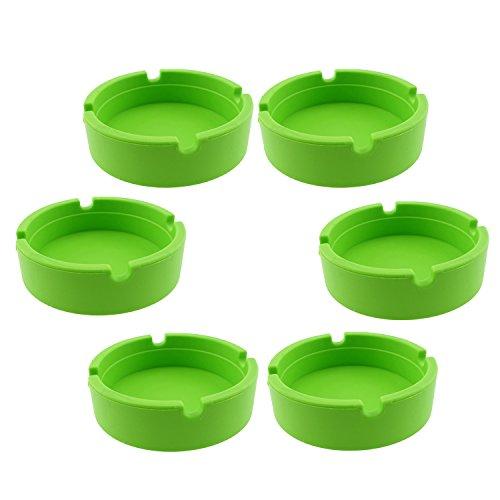 dly Colorfull Premium Silicone Rubber High Temperature Heat Resistant Round Design Ashtray (Green) (High Temperature Glass)