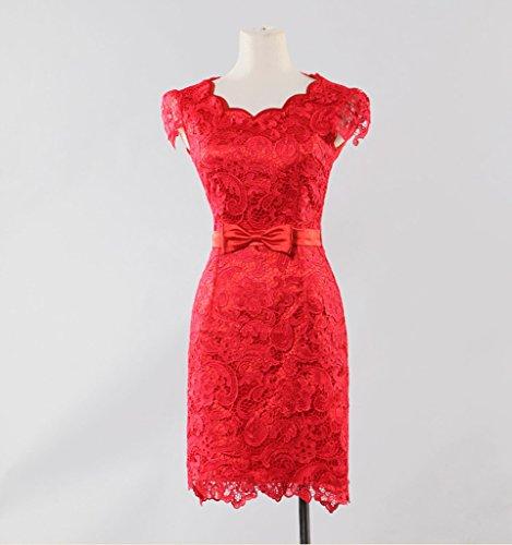 Bridesmaid Red Dearta Sleeves Women's Short Short Mini Sheath Dresses Jewel 7xZr0q7w