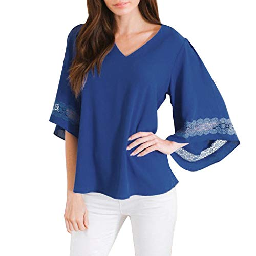 GHrcvdhw Trendy Sexy V-Neck Tops Lace Cuff Short Sleeve Pure Color T-Shirts Casual Blouses Tee Shirts Blue