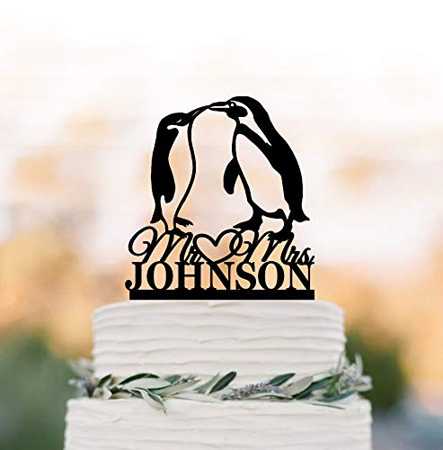 Penguins wedding cake topper mr and mrs penguin silhouette cake topper with heart decor funny acrylic cake topper ()