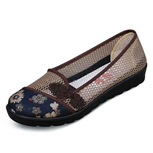 Boutons Women coloré Taille Flat Flat Knots Mesh Rouge Respirants Chinois for Mocassins Marron Shoes ZHRUI 42 EU qPItTq