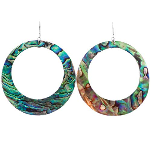 - New Zealand Paua Abalone Shell 925 Sterling Silver French Wires Hoop Earrings, 2 3/8