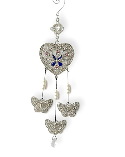 BANBERRY DESIGNS Silver Heart Ornament With Hanging Butterflies - Jeweled Filigree Design - Butterfly Decor - 25th Silver Anniversary