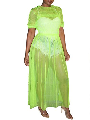 - Ophestin Womens Sexy Sheer Mesh Ruched Solid Short Sleeve Maxi Dress Cover Up Clubwear Green Size XXL