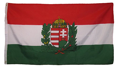 (ALBATROS 3 ft x 5 ft Hungary Hungarian Crest Royal Country Flag Grommets Fade Resistant for Home and Parades, Official Party, All Weather Indoors Outdoors )