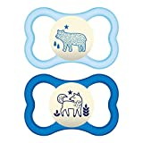 MAM Glow In the Dark Sensitive Skin Pacifiers, Baby Pacifier 6+ Months, Best Pacifier for Breastfed Babies, 'Air Night' Design Collection, Boy, 2-Count