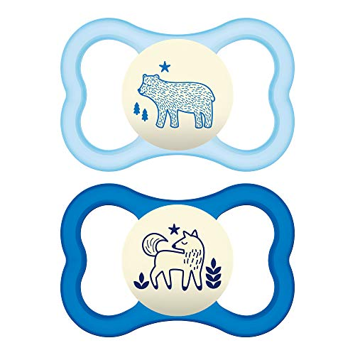 MAM Glow In the Dark Sensitive Skin Pacifiers, Baby Pacifier 6+ Months, Best Pacifier for Breastfed Babies, 'Air Night' Design Collection, Boy, - His Care Constant